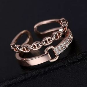 NEW ROSE GOLD PLATED BUCKLE DIAMOND PAVE RING